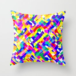 Psychedelic Pride Colors Pattern Throw Pillow