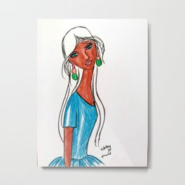 Brown girl, Blue eyes, White hair. Metal Print