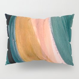 Breathe: a vibrant bold abstract piece in greens, ochre, and pink Pillow Sham