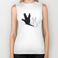novelty Biker Tanks featuring Rabbit Trek Hand Shadow by Mobii
