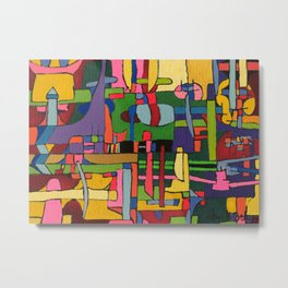 Colors in Collision 3 - Geometric Abstract of Colors that Clash Metal Print