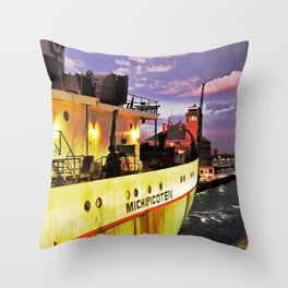 Sunset Freighter Throw Pillow