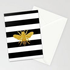 Bee Art in gold glitter effect Stationery Cards