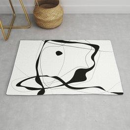 Black & White Minimalist line drawing -3, Square fine art, 40x40 simple art print, Rug