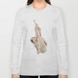 9412-KMA Nude Woman on Mirror Legs Feet Up High Key Fine Art Long Sleeve T-shirt