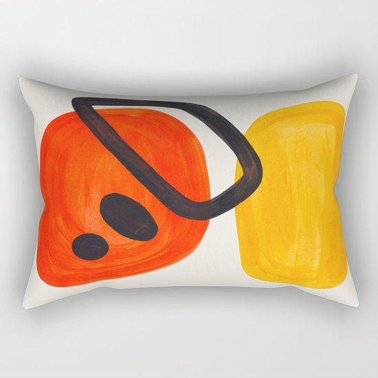 Colorful Mid Century Modern Abstract Fun Shapes Patterns Space Age Orange Yellow Orbit Bubbles by enshape
