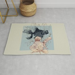 Telescope and golden fish aquarium Rug