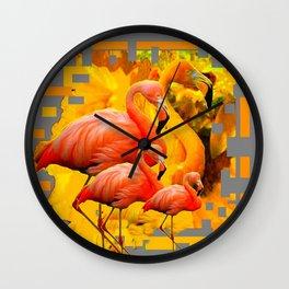 GOLDEN YELLOW SAFFRON FLAMINGOS FANTASY GREY ART ABSTRACT Wall Clock