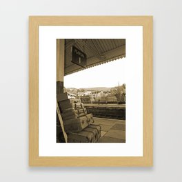 Llangollen Railway Station, Wales,  in Sepia Framed Art Print