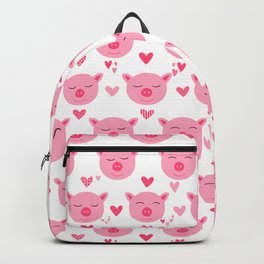 Cute Pink Piggy Faces Pig Pattern Backpack