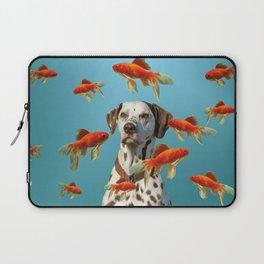 Dalmatian Dog with goldfishes Laptop Sleeve
