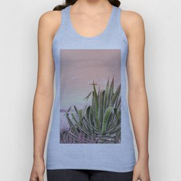 Agave in the Garden on Pastel Coral Unisex Tank Top