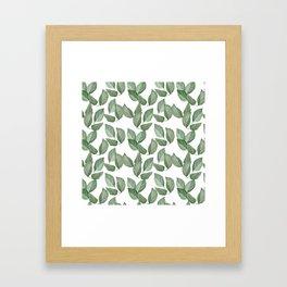 Watercolor green leaves pattern Framed Art Print