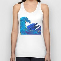 hokusai Tank Tops featuring Hokusai Rainbow & Dolphin by FACTORIE