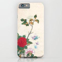Minhwa: Peony and Butterflies (Korean traditional/folk art) iPhone Case