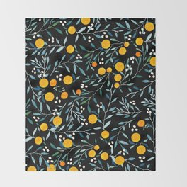 Oranges Black Throw Blanket