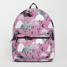 Mountain Landscape Forest Moon Night Pink Hills Backpack