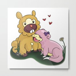Bidoof and Slowpoke Love Metal Print