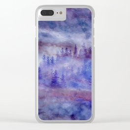 Misty Pine Forest Clear iPhone Case