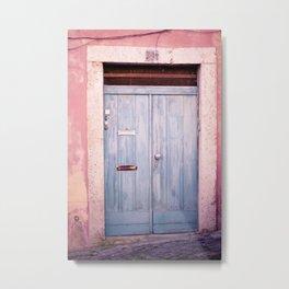Pink Wall in Lisbon Metal Print