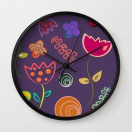 Motif de fleurs 5 Wall Clock