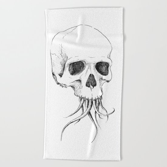 Skull with Tentacles Beach Towel