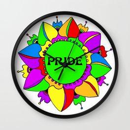 Rainbow Pride Mandala - White Background Wall Clock