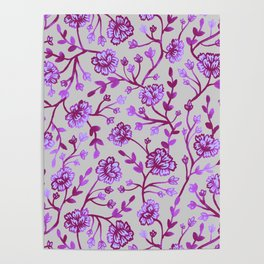 Watercolor Peonies - Orchid Poster