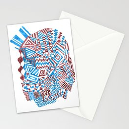 Face, Blue/Red Abstract (Ink Drawing) Stationery Cards