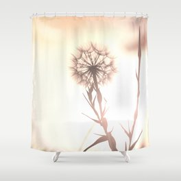 Pink Distant Dandelion Flower - Floral Nature Photography Art and Accessories Shower Curtain