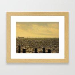 Cargo Ship In The Morning Framed Art Print