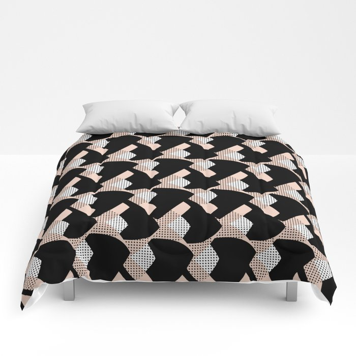 Weave me alone // pink, black + polka dot knit camo pattern Comforters