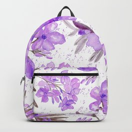 Watercolor lavender lilac brown modern floral Backpack