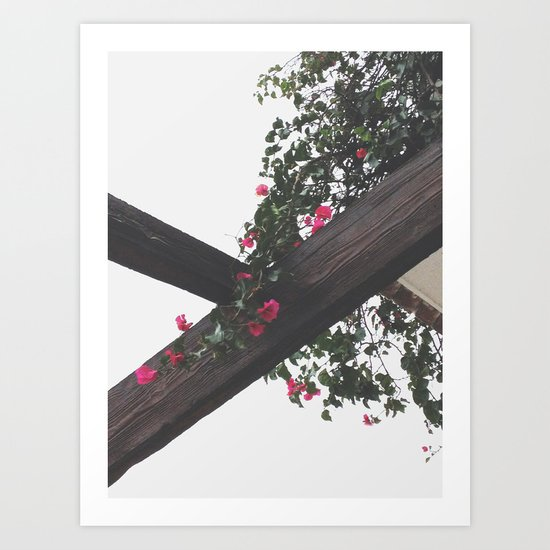 Wooden & Flowers Art Print
