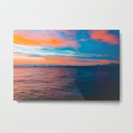 Colorful sea in the night with industrial port Metal Print