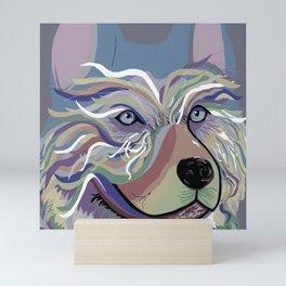 Husky in Denim Colors Mini Art Print