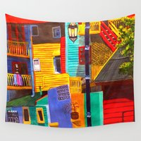 buildings Wall Tapestries featuring SkyRainbow Buildings by SkyJay