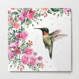 Hummingbird and Flowers Watercolor Animals Metal Print