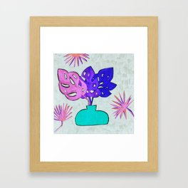 Pastel Monstera Leaves Framed Art Print