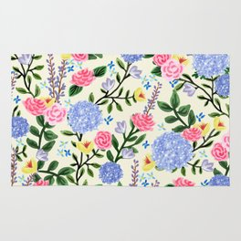 French Country Garden Print Rug