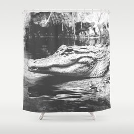 American Alligator Black and White Photography Shower Curtain