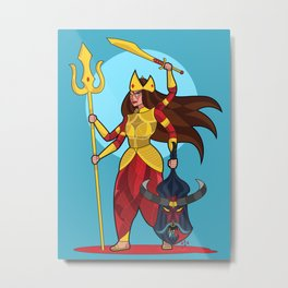 Durga-Golden Armor Metal Print