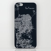 san francisco map iPhone & iPod Skins featuring San Francisco Map by chiams