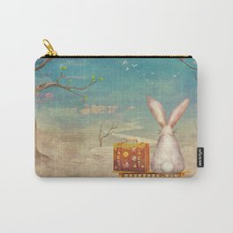 Sad rabbit  with suitcase sitting on the bench on the cloud in sky  Carry-All Pouch