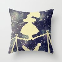 haunted mansion Throw Pillows featuring Haunted by Kayleigh Kirkpatrick