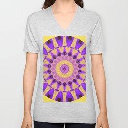 Bold Purple and Yellow Mandala Unisex V-Neck