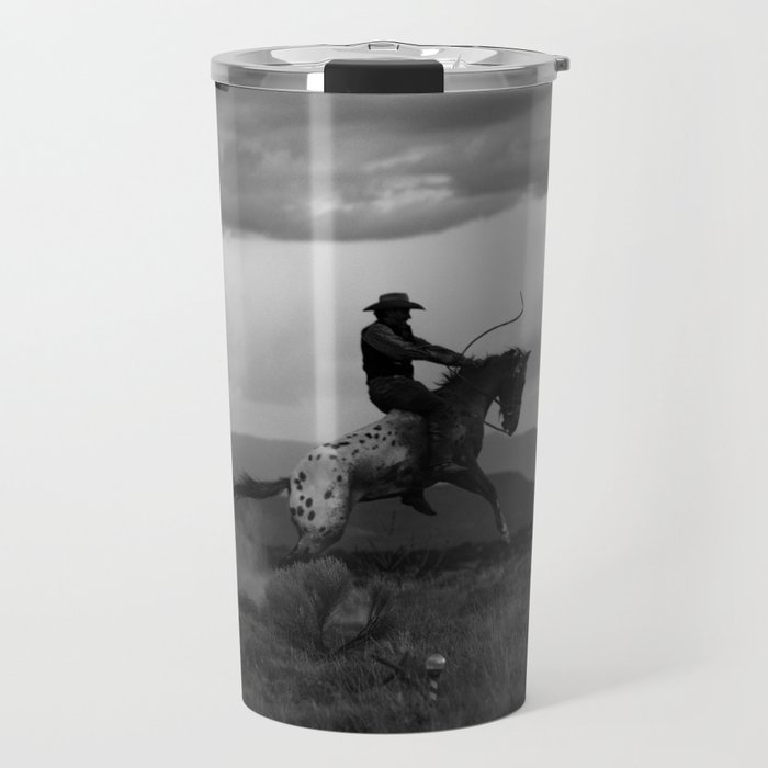 Black and White Cowboy Being Bucked Off Travel Mug