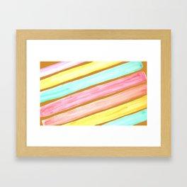 Retro Watercolor Stripes  Framed Art Print