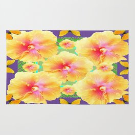 Peachy Yellow Tropical Hibiscus Butterflies Lilac-Green Abstract Rug