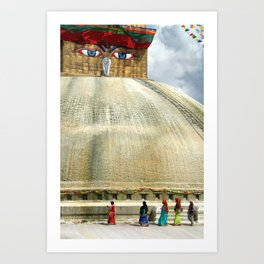 Circumambulating the Stupa Boudha Art Print